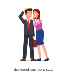 Woman whispering gossip secrets in business man ear. Gossiping lady speaking making business man confused. Surprised businessman person with open mouth scratching head. Flat vector illustration