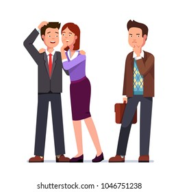 Woman whispering gossip secrets in business man ear. Gossiping lady speaking making business man laugh. Person left out next to them is upset & disappointed. Flat character vector illustration