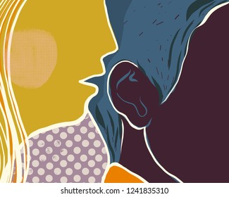 Woman whispering a secret or reporting message to man. Hand drawn vector colorful illustration in abstract style.