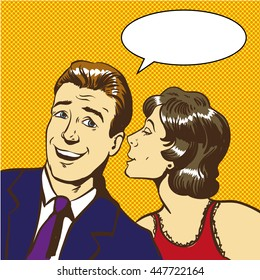 Woman whispering something to man. Pop art comic style stock vector