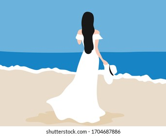 Woman in white dress holding white hat on the beach vector illustration. Woman on beach and summer holiday concept d background