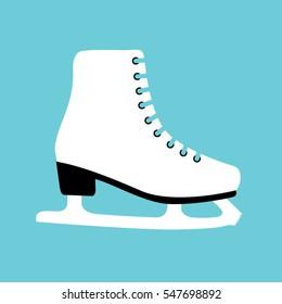 Woman white ice skate shoe icon. Vector illustration.