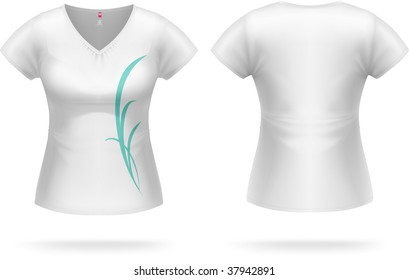 Woman white T-shirt with triangle collar & sample print design (can be easily removed). Vector, contains gradient mesh elements, highly detailed.