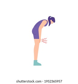a woman who feels pain or tenderness in her legs. bent over to hold the knees. calcification, bone loss, injury, osteoporosis. flat style. people vector illustration design