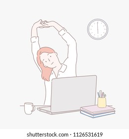 A woman who rests with stretching while working at a company. hand drawn style vector design illustrations.