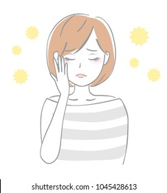 Woman whose eyes are itchy with hay fever