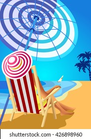 Woman in a wide-brimmed hat is sitting in a deckchair on a tropical beach. Poster in the Art Deco