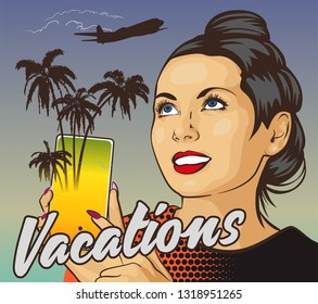 Woman wiht smile holding smartphone. Palm trees from screen. Jet fly on the background. Online booking service