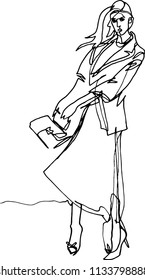 A woman in the wind in a long dress with a jacket, a bag in her hand, her hair fluttering, a fashionable pose, a cat walk. Podium, demonstration, minimal illustration with one continuous line