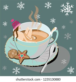 Woman and winter tea. Vector illustration of woman with winter hat bathing in winter tea with christmas cookies and snowflakesl on dark green background