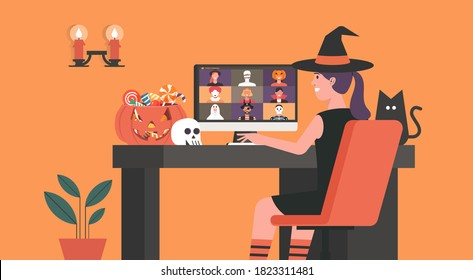 Woman in Witch dress having video call or video conference to celebrate online holiday and  Halloween party on computer at home together with her friends in horror costumes, flat vector illustration