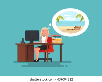 Woman at work daydreaming about summer vacation at sea. Vector illustration of a flat design