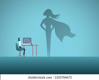 Woman at work dreaming about being superhero vector concept. Symbol of aspiration, motivation, ambition, career success. Eps10 vector illustration.