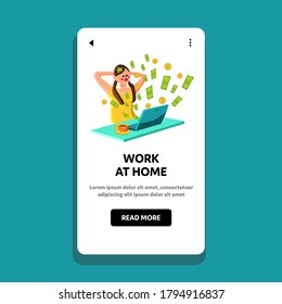 Woman Work At Home Business Or Investment Vector. Girl Relaxing In Front Of Laptop And Money Fly From Computer, Salary For Worker Work At Home. Character Web Flat Cartoon Illustration