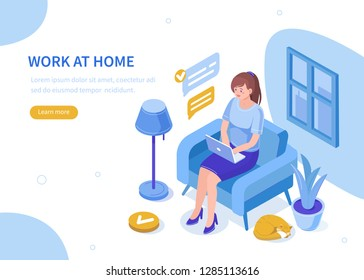 Woman work at home with laptop. Can use for web banner, infographics, hero images. Flat isometric vector illustration isolated on white background.