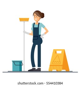 Woman worker of cleaning service is holding a mop and dressed in uniform on isolated background. Vector illustration in a flat style.