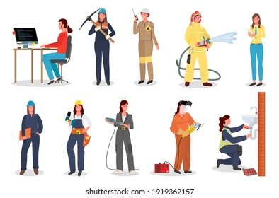 Woman worker set, coder or programmer, with pickaxe, industrial worker with walkie talkie, female fireman, office manager, lady foreman, with drill, holding grinder tool, repairing washing sink