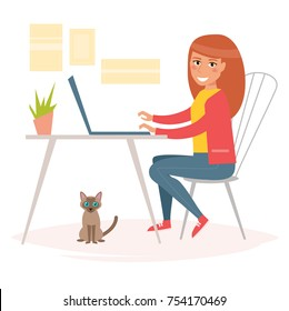 Woman working behind the notebook. Home office. Vector. Cartoon. Isolated art on white background. Flat
