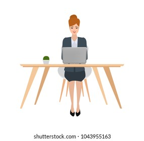 a woman working character with laptop computer on desk. freelance job concept.