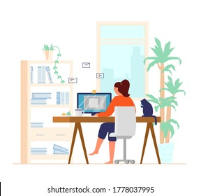 Woman Working At Computer From Home Back View Leg Crossed. Home Office Interior. Freelancer At Work. Flat Vector Illustration.