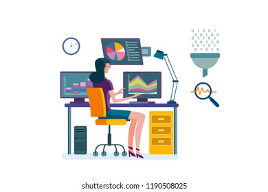 Woman working with computer in a office analizing charts and data in different screens