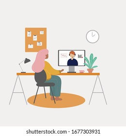 Woman working at her desk at home. Online video conference. Vector flat style illustration