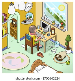 Woman working in home office (vector illustration, isometric style)