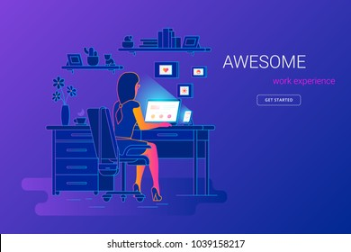 Woman working with laptop at her work desk, looking at monitor and smartphone. Gradient line vector illustration of student studying at home. People working with laptop at home on violet background