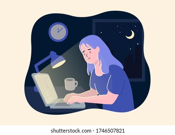 Woman working at night. Unhappy stressed female late hard works in office with computer. business woman work overtime hard with laptop to complete work with cityscape background on night time. vector.