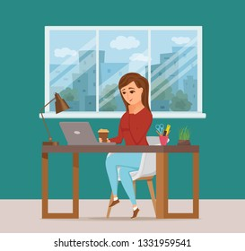 Woman working on computer colorful vector concept. Cartoon flat style illustration of office clerk happy girl sitting on desk with laptop. Female character of freelancer, secretary, businesswoman