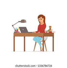 Woman working on computer colorful vector concept. Cartoon flat style illustration of office clerk. Happy girl sitting on desk with laptop. Female character of freelancer, secretary, businesswoman
