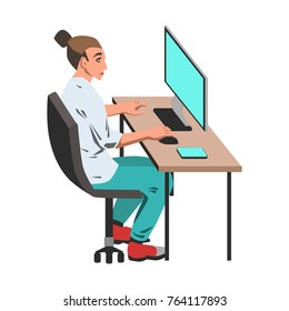 Woman working on her computer by the desk illustration on white background