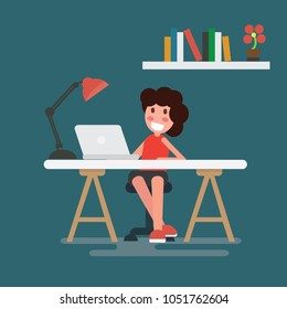 Woman working on laptop at her home office working desk. Flat style