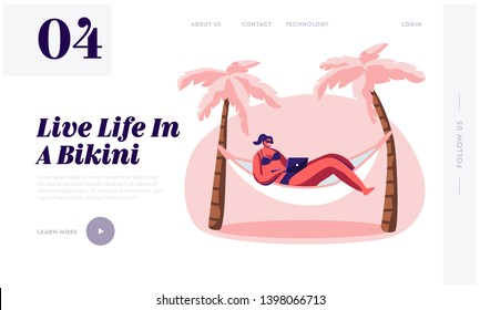 Woman Working on Laptop Lying in Hammock. Freelancer, Summer Time Leisure on City Beach. Lounging Female Character Vacation. Website Landing Page, Web Page. Cartoon Flat Vector Illustration, Banner