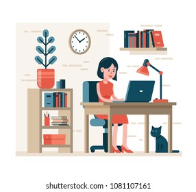 Woman working on laptop sitting on chair at desk in home interior. Flat character.