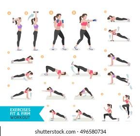 Woman workout fitness, cardio boxing, aerobic and exercises. Vector Illustration.