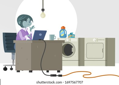 A Woman Works from Her Home Office in the Basement