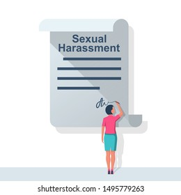 Woman writes a statement about sexual harassment. A young employee writes a complaint. Vector illustration flat design. Measures to solve problems. Claim petition. Sign the document on application.