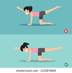 Woman wrong and sunbird pose ,vector illustration