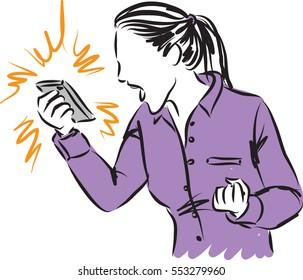 woman yelling phone illustration