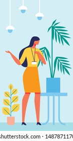 Woman in Yellow Dress. Badge Around Neck. Background Blue Interior. Training for Women. Vector Illustration. Psychologist on Background Plant on Table. Communication with Client. Lead Discussion.