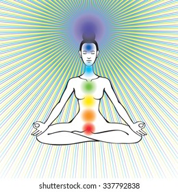 Woman yoga meditation with open crown chakra
