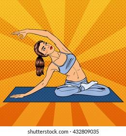 Woman in Yoga Pose. Girl Exercising. Pop Art. Vector illustration