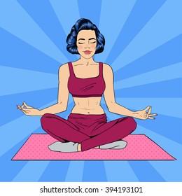 Woman in Yoga Pose Meditation. Girl Meditating. Pop Art Banner. Vector illustration