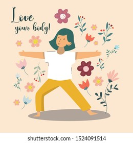 """Woman in yoga pose on neutral  background. Text """"Love your body!"""""""