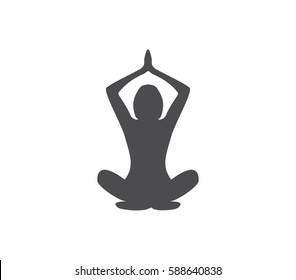 Woman in the yoga pose vector icon. Yoga icon. Woman yoga vector . Yoga pose