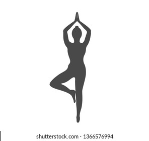 Woman yoga pose vector illustration. Meditation yoga icon.  Yoga pose icon.