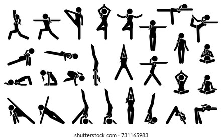 Woman Yoga Postures. Stick figure pictogram depicts various yoga positions, stance, poses, and workout.