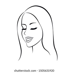 Woman  young beautiful face, black outline on white background