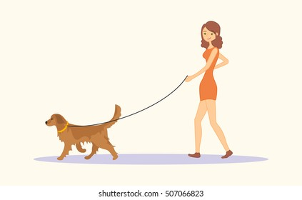 Woman or young girl in casual clothes walking the dog Golden retriever breed. Vector illustration isolated on white background